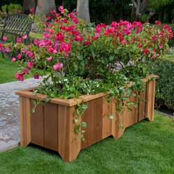 Wood Country Rectangle Cedar Wood Pocatello Planter - This cedar planter works well for bordering an outdoor patio or deck. Its long and spacious design planter lets you stretch your decorating options. Choose from four sizes of this attractive planter. Select from two lengths and match with two widths. Enjoy an attractive display of flowers or herbs to boost the visual appeal of your setting. Use with soil or potted plants. This planter is finished with an all-weather stain. It contains holes for drainage that are pre-drilled. Ships fully assembled. About CedarCedar wood is lightweight and resistant to both cracking and moisture rot. The oils of this resilient wood guard against insect attack and decay and their distinctive aroma acts as a mild insect repellant. Cedar is a dependable choice for outdoor furniture either as a finished or unfinished wood. Over time unfinished cedar left outdoors will weather to a silvery gray patina. This natural process does not compromise the strength or integrity of the wood. Size Dimensions 39 in. Planter - Small Dimensions: 39.75L x 15W x 12.75H inches Inside Dimensions: 36.5L x 11.75W x 6.75H inches Weight: 25 lbs. 50 in. Planter - Medium (Narrow) Dimensions: 49.6.25L x 15W x 12.75H inches Inside Dimensions: 46.5L x 11.75W x 6.75H inches Weight: 29 lbs. 50 in. Planter - Large (Wide Short) Dimensions: 49.375L x 20W x 12.75H inches Inside Dimensions: 46.5L x 16.5W x 6.75H inches Weight: 31 lbs. 50 in. Planter - Extra Large (Wide Tall) Dimensions: 49.375L x 20W x 17H inches Inside Dimensions: 46.5L x 16.5W x 10.75H inches Weight: 37 lbs. About Wood CountryFine handcrafted outdoor furnishings are what Wood Country is all about. They manufacture a complete line of outdoor furniture and accessories made of clear kiln-dried Western Red Cedar. Each piece is hand-crafted and finished with a high quality penetrating oil weather stain. Wood Country is about offering their customers choices allowing them to create their own custom environment perfectly suited to enjoy their leisure time. Customers can choose the styles they like based on family need budget or just personal tastes. Wood Country uses the best materials hardware fabric and finishes they can find. Quality materials combined with Wood Country's talent means you're getting some of the best outdoor furniture available in today's market.