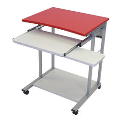 "Luxor - Luxor Mobile Computer Workstation - LCT29-R - Red mobile single person computer desk with work surface made from wood laminate and frame made of steel. Work surface is 24""W x 19""D x 29""H. Pull out keyboard and mouse shelf"