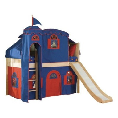 Cottage Low Loft Natural-Bot. Curtain/Top Tent/Tower/Slide, Blue/Red - This is a kids' loft bed with a play tent and slide. The cool kids have these.