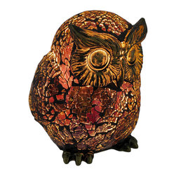 Zeckos - Amber Crackle Glass Owl Accent Lamp Bronzed Base - This beautiful amber crackle glass octopus shaped lamp adds the perfect accent to desks or nightstands of owl lovers. Measuring 5 1/2 inches tall, 4 1/2 inches wide and 4 1/2 inches deep, the lamp features an antiqued bronze finished metal base and owl's head, with the body of the owl made of amber crackled glass. The lamp is brand new, never used or displayed. It uses one nightlight style bulb (included). It makes a great gift idea. We have a very limited supply of these, so don't delay. Get yours now