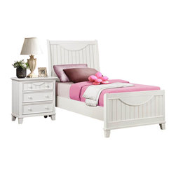 Homelegance - Homelegance Alyssa 5 Piece Kids' Panel Bedroom Set in White - Cottage styling lends itself to the Alyssa Collection. Finished in a simple cottage white or warm brown cherry bead board accents the end panels and top drawers of each case piece while coordinating knobs punctuate each drawer. Offerings include Full Queen and King beds. The Alyssa collection is a quaint addition to your home.