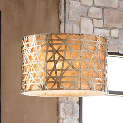 "Alita Basketweave Lights - Uniquely beautiful, the Alita chandelier will make a wonderful statement in any room.  The outer shade of this fixture is handcrafted of silver-leafed metal strips.  The strips are finished with black dry brushing and an antiqued stain.Large light is 22""Dia. x 14""T"