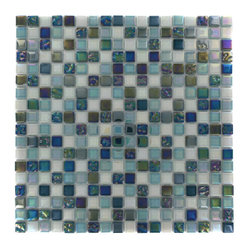 "Whimsical Iridescent Teal Glass Tile - Whimsical Iridescent Teal Glass Tile Add a pop to any room with these beautiful tiles that are versatile; great to use for back splash for a kitchen or a fireplace. This tile is great to use for the bathroom, kitchen or pool installation. Chip Size: 5/8"" x 5/8"" Color: Shades of Green and White Glass Finish: Polished and Textured Sold by the Sheet - each sheet measures 11 3/4"" x 11 3/4"" (0.96 sq. ft.) Thickness: 4mm Please note each lot will vary from the next."