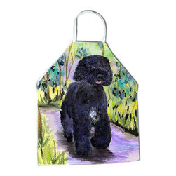 Caroline's Treasures - Portuguese Water Dog Apron SS8264APRON - Apron, Bib Style, 27 in H x 31 in W; 100 percent  Ultra Spun Poly, White, braided nylon tie straps, sewn cloth neckband. These bib style aprons are not just for cooking - they are also great for cleaning, gardening, art projects, and other activities, too!