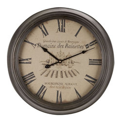 """Benzara - Metal Wall Clock with Roman Numerals - Metal Wall Clock is an excellent anytime low priced wall decor upgrade option that is in high demand as modern age low budget home interior decoration item. This metallic decorative clock features a clean and attractive dial that has the Roman numerals to show the time in the classic way.; Material: Rust free premium grade metal alloy; Color: Gray; Weather resistant; 100% Maintenance free quartz; Operates with 2AA batteries; Size: 19"""" Diameter"""