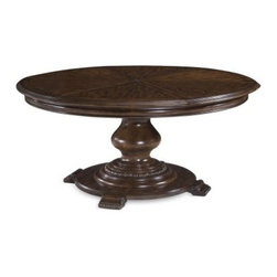 A.R.T. Furniture Coronado Round Pedestal Dining Table - Barcelona Walnut - The A.R.T. Furniture Coronado Round Pedestal Dining Table – Barcelona Walnut features a rare beauty and an even rarer design, expanding from 64 inches to 80 inches round with its six self-storing pie-shaped leaves. The table's round shape and traditional Spanish style are ideal for dining rooms, where its radiata hardwood, walnut veneer, serigraph silk screen detailing, and center turned pedestal add abundant visual interest.About A.R.T. FurnitureFounded in 2003, A.R.T. Furniture creates beautiful, high-quality furniture inspired by architecture and design. Their sophisticated aesthetic draws upon the best of traditional European furniture designs, as well as rustic, coastal, and transitional styles. A.R.T. Furniture is known for its themed collections that reinvent classic forms for the needs of contemporary home decorators. Their dining room, bedroom, entertainment, and living room furnishings are constructed from sustainably forested hardwoods and veneers. A.R.T. Furniture is distinguished by its superior craftsmanship and attention to detail, taking the extra step in the manufacturing process to ensure quality, beauty, and durability for its customers.
