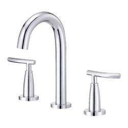 "Danze - Danze D304554 Chrome Widespread Lavatory Faucet Two Handle - Danze D304554 Chrome Trim Line Widespread Lavatory Faucet is part of the Sonora Bath collection.  D304554 3 hole 6""-12"" Trim Line Widespread lav faucet has a 5 1/4"" long and 9"" high spout, with metal touch down drain.  D304554 Two lever handles meets all requirements of ADA.  California and Vermont compliant."