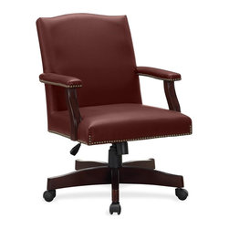 Lorell - Lorell Traditional Executive Bonded Leather Chair - Bonded Leather Burgundy Seat - Executive chair offers luxurious seating to complete your office suite. Enjoy the comfort of a cushioned seat and back upholstered in bonded leather with button tufting. Wooden arms feature upholstered arm pads and nail head trim. Sturdy, five-star base is also made of wood and equipped with chrome-plated casters. Functions include pneumatic seat-height adjustment, 360-degree swivel, tilt, tilt tension and tilt lock. With the tilt functions, you can easily lean the chair back or lock out the tilt function when the chair is in the upright position. Weight capacity is 250 lb.
