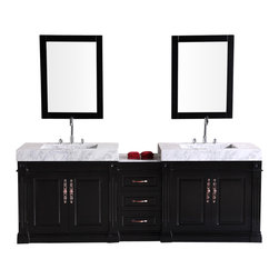 """Design Element - Design Element Odyssey 88"""" Espresso Modern Double Sink Vanity Set - The Design Element Odyssey 88"""" Double Bathroom Vanity Set features quality craftsmanship and the finest in available materials, creating a stunning modern piece that your bathroom will greatly benefit from. Its sturdy frame is made from solid wood and features a dark espresso finish, accented with satin nickel finished hardware. Carrera white marble serves as the countertop, with two integrated sinks. Two soft-closing double-door cabinets are built into the frame, with three spacious pull-out drawers between them."""