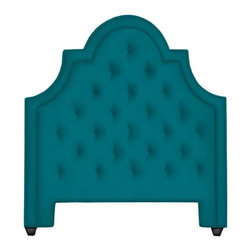 Woodhouse Queen Headboard, Venice Peacock - This headboard reminds me of something right out of Mad Men, and I love the turquoise color.