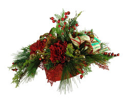 TableCenterpieces.net - Faux Red Hydrangea Christmas Centerpiece - Distinctive and sophisticated, this beautifully handcrafted faux red hydrangea floral arrangement makes a stunning Christmas centerpiece or Christmas mantel decor. This stunning piece can also be used to decorate an entryway, dining table or sideboard.