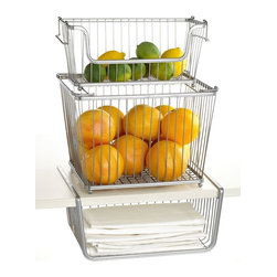 Interdesign Kitchen Storage Bin - Wire baskets are my go-tos for household storage. The bottom basket hooks on a shelf, and the other stacking baskets are really practical and versatile. I want a couple sets of these, for even more than kitchen use.