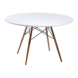 Eiffel Dining Table - Keep it clean when it comes to your kitchen table.  This sleek and modern Eiffel Dining Table features a smooth white fiberglass tabletop and wooden legs.  With support structure reminiscent of the famed Eiffel Tower, the table gives off a simple elegance fit for any modern home.