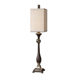 Uttermost - Uttermost 29278-1 Single Light Up / Down Lighting Post Table Lamp - Uttermost 29278-1 Carolyn Kinder Valstrona LampTextured rusty black finish with polished nickel details. The square box shade is a silken, light silver linen fabric.Features: