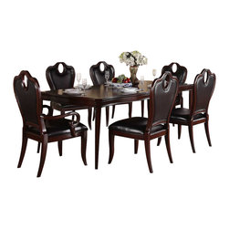 Homelegance - Homelegance Agatha 7 Piece Extension Dining Room Set in Rich Cherry - Sweeping oval accents flow effortlessly blending with the grand curves of the chairs and china top in the classic Agatha Collection. Punctuating the design of this rich cherry-hued offering is the elegantly appointed burl veneer featured on the tabletop and china base. The coordinating server features glass fronted display shelves and drawers-including a functional felt-lined silverware storage drawer. Each service piece is adorned with polished nickel hardware lending to the traditional modern aesthetic.