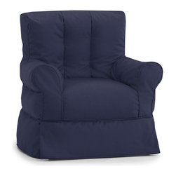 Comfort Research - Comfort Research Big Joe Lux ID Babette Arm Chair - Twill, Navy - Sometimes in life, great things come with not so great costs. For example, the familiar comfort of a traditional framed chair comes with having to justify the price tag to yourself, then figure out how to haul a heavy piece of furniture home. Well, do yourself a favor  and meet the Babette Arm Chair. It has all the curves, comfort and style of a traditional framed chair, but at a fraction of the weight and cost. And thanks to the UltimaX Beans, durable fabric and a rainbow of color options, you'll look as good as you feel when sitting  on a Babette! Filled with UltimaX Beans that conform to you.  Double stitched and double zippers. Spot clean.