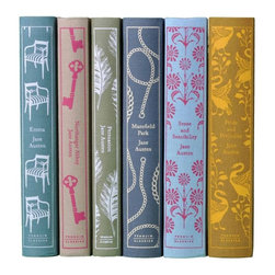 Jane Austen Penguin Books, Set of 6 - My favorite books by Jane Austen would be right by my side. These gorgeous editions from Penguin Books would be wonderful additions to any book collector's library.