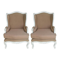 Pair of French Provincial Arm Chairs in Taupe - A beautiful pair of French Provincial style Arm Chairs. Solid wood frame in white distressed finish. Upholstered in cotton fabric in taupe color. Padded on the arms.