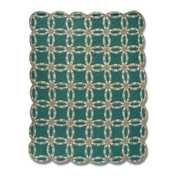 Patch Quilts - Green Double Wedding Ring Twin Quilt - -Constructed of 100% Cotton  -Machine washable; gentle dry  -Made in India Patch Quilts - QTGDWR