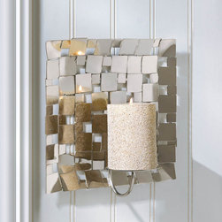 Malibu Creations - Malibu Creations Modern Silver Mosaic Wall Sconce - Dazzling candlelight will shimmer and dance throughout your living space when you light a candle on this gorgeous metal mosaic tile wall sconce. The high-polish back plate is the embodiment of contemporary grace and modern style with its varied metal tiles that collaborate to create a magical pattern. The simple candle platform is ready for your favorite pillar candle, and when you light it, you'll be treated to a spectacle of sparkle and shine that you've never seen before. It looks great in the dining room, bedroom, entry way and beyond!