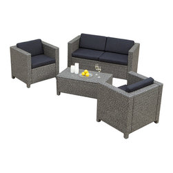 Great Deal Furniture - Venice Outdoor Wicker Sofa Set, 4 Pieces - Create a beautiful outdoor seating area perfect for entertaining guests or enjoying a good book. This modern yet functional sofa set was designed with you in mind. It's comfortable, weather resistant and practically maintenance free!