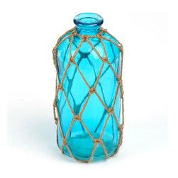 Blue Jute-Wrapped Glass Vase - Vase measures 10H x 4.5 in. in diameter.