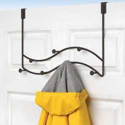 Sweep Over the Door 7 Hook Double Coat Rack - The Sweep Over the Door 7 Hook Double Coat Rack is a sprightly deviation from your standard coat rack. Sturdy metal construction ensures that this coat rack will be with you for a long time and the over the door hook design will help spare your walls of unnecessary holes. Available in black chrome and satin nickel finishes this piece features a wave design which will bring a dash of playful energy to your door. Seven hooks allow you plenty of places to hang coats hats umbrellas or anything else you please. No assembly required. This coat rack measures 19.75W x 3.875D x 13.375H inches. About Spectrum Diversified DesignsSpectrum Diversified Designs based out of Cleveland Ohio operates out of a 130 000 square foot distribution center and provides services to nearly every continent on the globe. With a specialized team of experts in art design and logistics Spectrum consistently provides top-quality products that are functional attractive and cost-effective. Spectrum is dedicated to providing you with only the best in home accessories. From the kitchen to the bath and all in between you'll find exactly what you need for all of your home needs. The possibilities are endless.