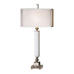 Uttermost Atilius White Table Lamp - Gloss white glass with a spiral texture accented with polished nickel plated details and a crystal foot. Gloss white glass with a spiral texture accented with polished nickel plated details and a crystal foot. The double shade is a sheer outer hardback with a white linen inner hardback.