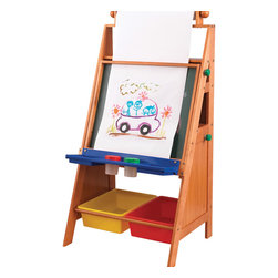 """KidKraft - Kidkraft Kids Children Home Indoor Painting Fun Creative Art Easel Desk - Let's get creative. Our Easel Desk gives kids a perfect place to work on their next masterpiece. Parents will be so proud watching their young artists paint, write, draw and create. Age Range: 3 Plus. Dimension: 27.3""""Lx 20.1""""Wx 48.3""""H"""