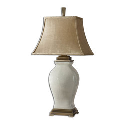 Uttermost - Rory Ivory Table Lamp - Crackled aged ivory glaze over porcelain with coffee bronze details. The rectangle bell shade is a silken, golden champagne, crushed fabric.