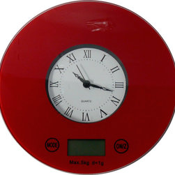 SWE Inc / iFresh - iFresh Digital Kitchen Scale with Quartz Clock, Red - Do you know how important it is to weigh your food, whether it is for baking and cooking, or for portion sizes? Diet season is almost upon us and having a scale is a great way to weigh your portions!