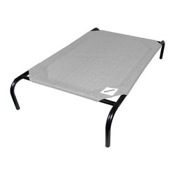 """Sunsational Products - Pet Bed Large (3'6""""x2'6"""") Grey - This classic design elevated pet cot combines unique Coolaroo knitted fabric with a sturdy powder coated steel frame for maximum comfort and durability. It is made from 185gsm Coolaroo knitted fabric that will not tear or crack and is mold and mildew resistant. The fabric is made using UV stabilized high density polyethylene materials. Dogs love this pet cot because it allows cooling breezes to pass through in summer while elevating them from cold floors in winter. In addition, the fabric also acts as a great back scratch so do not be surprised to see your pet enjoying a good roll around on the pet cot. The nature of the design also makes this pet cot ideal for older dogs with orthopedic concerns The pet cot can be assembled in minutes and is easy to clean using soap and water. It is flea and mite resistant. This product is suitable for breeds including border collie, cocker spaniel, kelpie and bull terrier, as well as cats and other pets."""