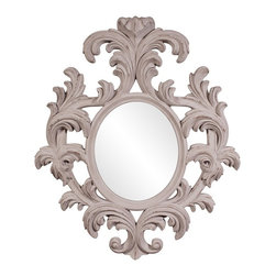 Howard Elliott - Howard Elliott Alexi Baroque Mirror - Our Alexi Mirror is a lavish baroque piece of ornate scrolls and flourishes finished in a distressed rustic taupe.