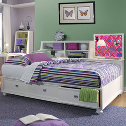Children's Furniture - The Elite Zoe Storage Sideboard & Platform Bed is a multi-function bed, perfect for a young girl's bedroom! This bed features a daybed layout, with plenty of storage both along the sideboard and under the bed. The memoboard adds a unique touch, allowing your child to express herself freely! This bed is great for small room lacking storage.