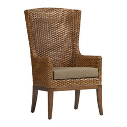 Palmetto Arm Chair with Cushion | Crate&Barrel - This Palmetto chair has roots in coastal Carolina. It's the perfect choice for host and hostess chairs in a mix-and-match dining chair group.