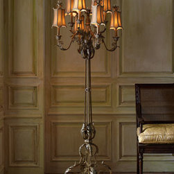 "John-Richard Collection - John-Richard Collection Venetian-Style Floor Lamp - Eight-armed floor lamp presents light in elegant fashion. Made of wrought iron hand finished in a shimmery golden hue. Uses 40-watt bulbs. 30""Dia. x 79""T. Boxed weight, approximately 68.2 lbs. Please note that this item may require additional delivery a..."