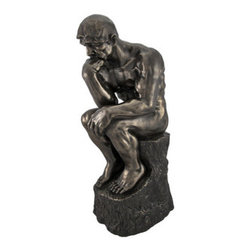 Bronzed `The Thinker` by Rodin Statue - Promote deep thoughts. Place this statue on your desk for inspiration or on your mantle to admire its beauty. Wherever you put it, you will appreciate its intricate detail and metallic bronze finish.