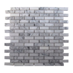 "Sample White Carrera 1/2x2 Brick Tile 1/4 Sheet - sample-WHITE CARRERA 1/2X2 BRICK GLASS TILE 1/4 SHEET SAMPLE You are purchasing a 1/4 sheet sample measuring approximately 3 "" x 12 "". Samples are intended for color comparison purposes, not installation purposes. -Glass Tile -"