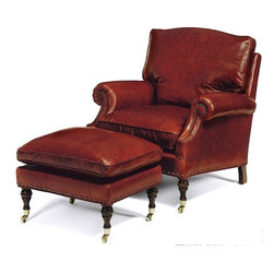 EuroLux Home - New Ottoman Library Wood Leather Nailhead - Product Details