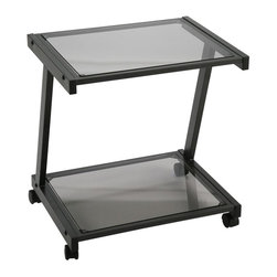 Eurø Style - L Printer Cart in Graphite Black Finish - Keep your office equipment close at hand with this L Printer Cart in Graphite Black Finish by Eurø Style. A durable powder epoxy coated steel frame supports tempered glass shelves.
