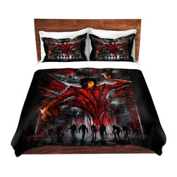 DiaNoche Designs - Duvet Cover Twill - The Thriller Michael Jackson - Lightweight and super soft brushed twill Duvet Cover sizes Twin, Queen, King.  This duvet is designed to wash upon arrival for maximum softness.   Each duvet starts by looming the fabric and cutting to the size ordered.  The Image is printed and your Duvet Cover is meticulously sewn together with ties in each corner and a concealed zip closure.  All in the USA!!  Poly top with a Cotton Poly underside.  Dye Sublimation printing permanently adheres the ink to the material for long life and durability. Printed top, cream colored bottom, Machine Washable, Product may vary slightly from image.
