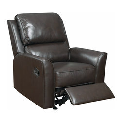 None - Piper Brown Italian Leather Rocker Recliner Chair - Lay back and relax in this brown rocker recliner chair from Piper. Constructed with high-quality Italian leather and filled with two-pound density foam,this recliner is the perfect way to unwind while reading a book or watching television.