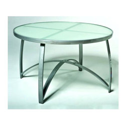 Woodard - 48 in. Wyatt Round Dining Table - Frosted Glass (48 in.) - Choose Size: 48 in.. All products are made to order. Orders cannot be cancelled after 5 calendar days. If order is cancelled after 5 calendar days, a 50% restocking fee will be applied. Aluminum frame. 28.2 in. H (44 lbs.)