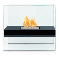 Anywhere Fireplace - Anywhere Madison Floor Standing Bio-Ethanol Fireplace - The indoor/outdoor Madison model Anywhere Fireplace will give any space that wow factor. Its grand size and clean elegant lines is truly a show stopper and focal point as it sits on the floor of your living room, bedroom, patio, porch. No need to install gas lines or undergo major construction to get the ambiance of a large fireplace. It is specially made with an outdoor grade powder coating so you can choose to use it outdoors as well as indoors and the elements will not affect its satin black finish. You will not want to leave the burner outdoors however because you dont want to get water in it. Never substitute any other fuel in place of liquid fuel for ventless fireplaces. Always read all instructions on your firelplace and the fuel bottle.