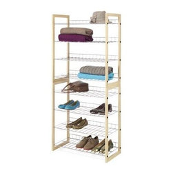Whitmor - Closet Shelves Wood Chrome - Closet shelves with 4 chromed wire shelves that have a vertical back lip that keep items from falling in back of the unit. Beautiful natural wood frame give the closet shelves that finishing touch to an attractive piece of furniture storage. Great item for shoes sweaters purses and accessories. Use on top shelf of closet or underneath hanging cloths. Closet shelves will complement any room in the house or office.
