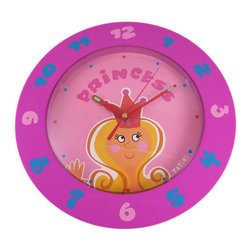 Tatiri Hot Pink Princess Wall Clock - Made of plastic, this wonderful hot pink Princess battery powered wall clock is the perfect addition to your little Princess` bedroom. The clock measures 12 inches in diameter, with pink and blue numbers and red hands that glow in the dark. It runs on one AA battery (not included).This wall clock is BRAND NEW, never hung, and makes a great gift for the holidays.