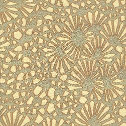 KIKU - ALOE - Calvin Fabrics - KIKU - ALOE - sage & cream graphic Japanese chrysanthemum design woven in the USA - contract rating WYZENBEEK: 30,000