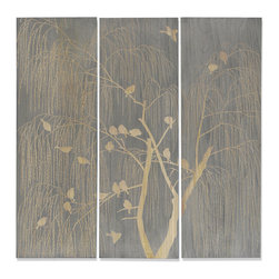 Palecek - Willow Birds Wall Decor, Set of 3 - Tung wood panels washed in grey tones then hand-chiseled to reveal the natural wood tone. Metal hardware at top back for hanging.