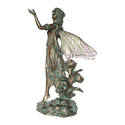 TLT - 10 Inch Cold Cast Bronze Finish Fairy with Crystal Clear Wings Statue - This gorgeous 10 Inch Cold Cast Bronze Finish Fairy with Crystal Clear Wings Statue has the finest details and highest quality you will find anywhere! 10 Inch Cold Cast Bronze Finish Fairy with Crystal Clear Wings Statue is truly remarkable.
