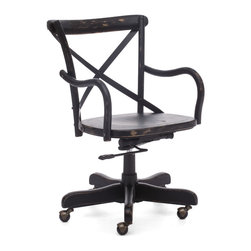 ZUO ERA - Union Square Office Chair Antique Black - Add a bit of French flair to your home office. This solid wood cafe style chair features an antique metal x-back design and wheels for easy movement. It's comfy, functional and available in three rustic finishes.